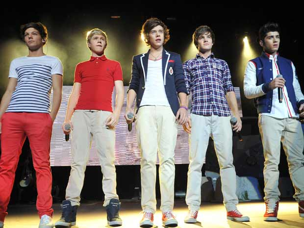 "One Direction during their 2012 ""Up All Night"" Tour."
