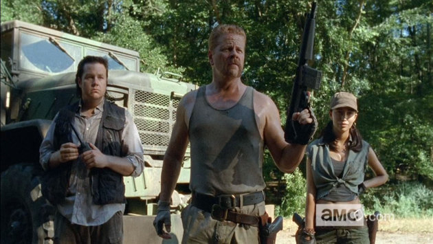 Dr. Eugene Porter, Srgt. Abraham Ford, and Rosita Espinosa, three companions encountered on the road to Terminus.