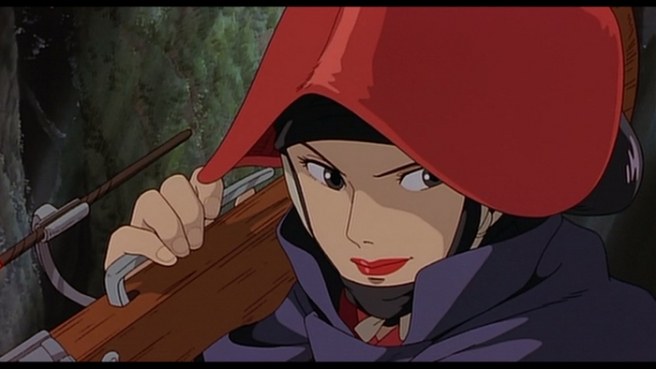 Princess Mononoke's Lady Eboshi totes a gun as she prepares to fight.