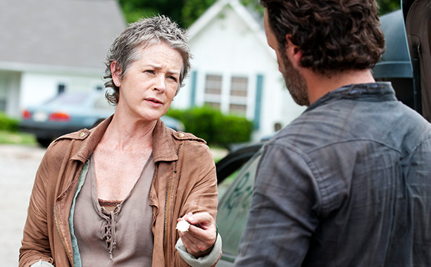 Carol gives Rick a parting gift after he banishes her from the group.