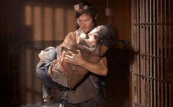 Daryl saves Carol's life in the prison.