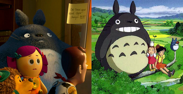 Miyazaki's character, Totoro, makes a cameo appearance in Toy Story 3.